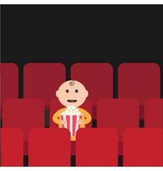 Cartoon man little boy character sitting in movie vector