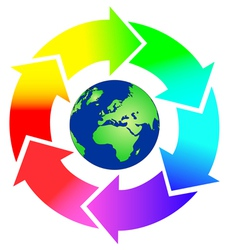 Round arrows in rainbow colors with earth vector image