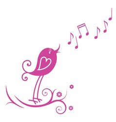 Bird and musical notes vector