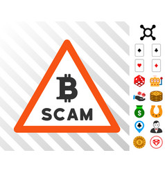Bitcoin scam warning icon with bonus vector