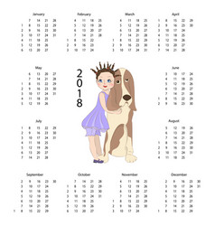calendar 2018 with cute dog vector image