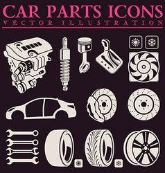 Car parts icons set auto service repair tool vector