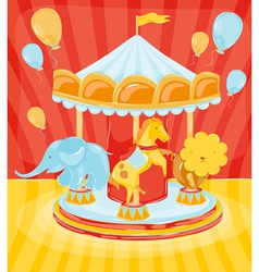 Circus carousel with animals vector