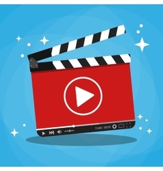 clapperboard with video web streaming player vector image