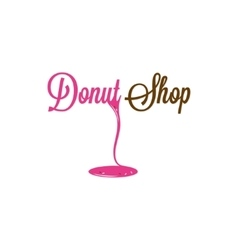 Donut Shop Glazed Logo Design Background vector image