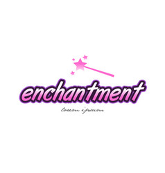 Enchantment word text logo icon design concept vector