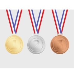 Gold silver and bronze medals with ribbons vector image vector image