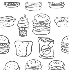 hand draw of food various doodles vector image vector image