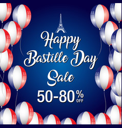 Happy bastille day celebration banner vector