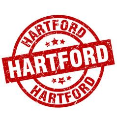 Hartford red round grunge stamp vector