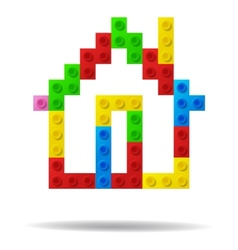 House from plastic toy blocks vector image vector image