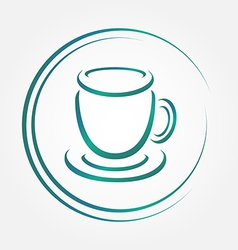Icon of blue tea or coffee cup vector