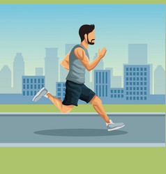 man running in the city vector image