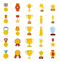 medal award icon set isolated flat style vector image