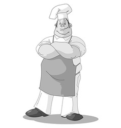 monochrome chef vector image vector image