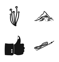 Mushrooms mountain and other web icon in black vector