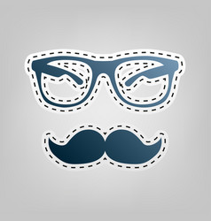 Mustache and glasses sign blue icon with vector