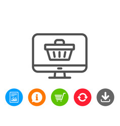 Online shopping cart line icon monitor sign vector