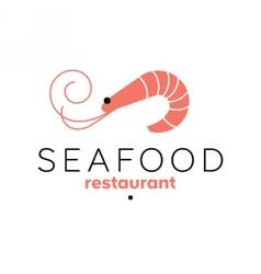 Shrimp logo template Seafood restaurant sign vector image