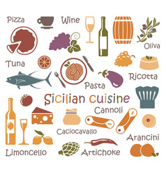 Sicilian cuisine set of icons of food and vector