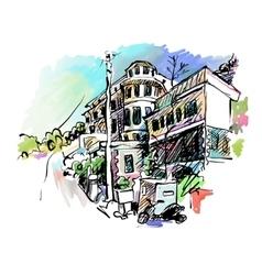 Sketch drawing of italy village landscape black vector