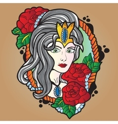 Tattoo design of nice girl with long curly hair vector