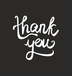 Thank you black and white handwritten card vector
