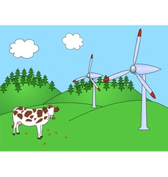 Wind power plants with cow vector image vector image