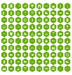 100 bbq icons hexagon green vector