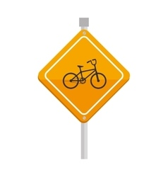 Yellow sign bike attention icon vector