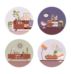 Set of retro interiors in circle vector