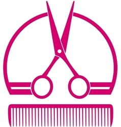 barbershop icon with scissors and comb vector image