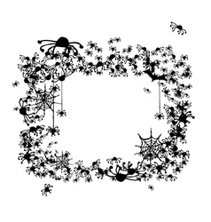 Halloween frame made from spiders and bats vector