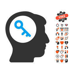 Brain key icon with love bonus vector