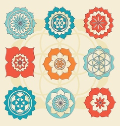 magic lotus symbols vector image