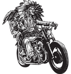 on the bike - native americans drive a motorcycle vector image