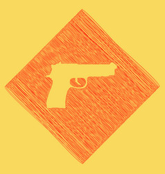 Gun sign   red scribble icon vector