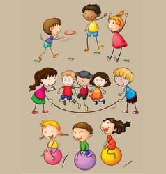 Happy children playing games vector
