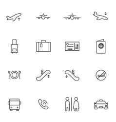 Airport icon sets line icons vector