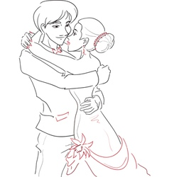 Wedding embracing couple vector