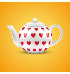 White ceramic teapot with hearts pattern vector