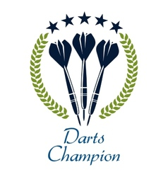 Darts shampion sporting emblem vector
