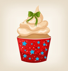Cute colorful christmas cupcake with decorations vector