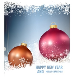 background with two Christmas ball and snowflake vector image