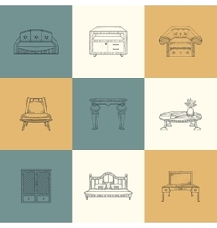 Set of furniture vector