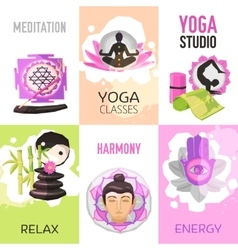 Yoga poster set vector