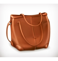 Leather handbag icon vector