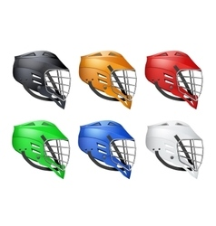 Set of lacrosse helmets vector