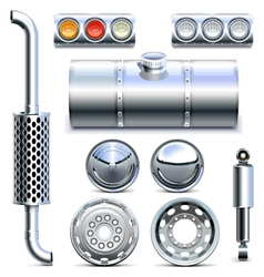 Chromed Truck Parts Set 1 vector image