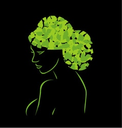 Hair with leaves vector image
